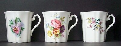 3 Royal Grafton Bone China FLORAL MUGS White w/VARIOUS FLOWERS England (1957-89)