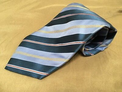 Boss Hugo Boss Neck Tie Striped Pattern Blue Gold 100 % Silk Made In Italy