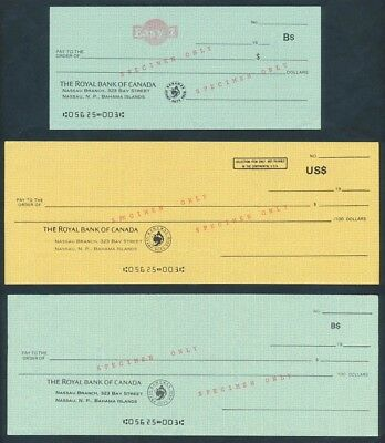 Bahamas: Canada 1980s Royal Bank of Canada. Set of 3 SPECIMEN Cheques SCARCE
