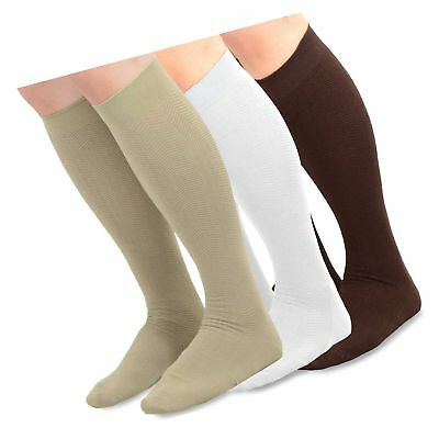 TeeHee Men's Bamboo Dress Over the Calf Socks Assorted Color 3-pack (Whi...