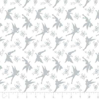 Camelot Fabric Disney Tinker Bell Tink Silhouette in Light Grey HALF METRE