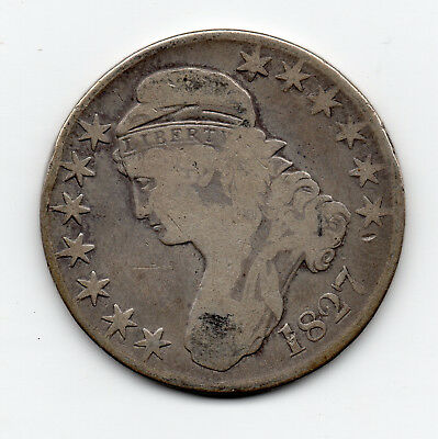 1827 Silver Early Bust Type Half Dollar - free shipping - edge lettering