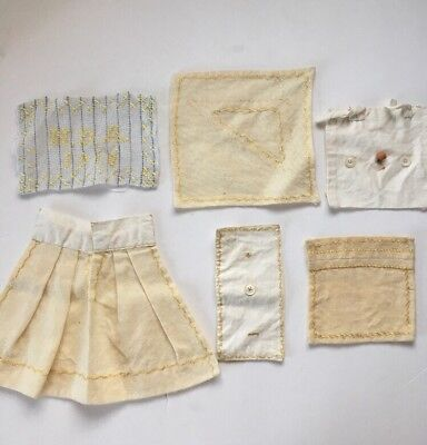 6 Antique Needle WORK SAMPLERS Hand stitched EMBROIDERY