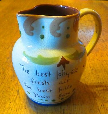 Superb Early H M Exeter Torquay Pottery Scandy Design Mottoware Jug Great Motto