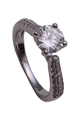 ForeverOne 1.24CTW Round Moissanite Diamond Antique White Gold Engagement Ring