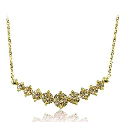 Champagne Cubic Zirconia Graduated Necklace in Gold Plated Sterling Silver
