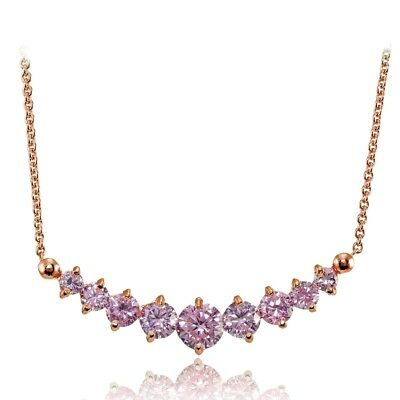 Light Pink Cubic Zirconia Graduated Necklace in Rose Gold Plated Sterling Silver