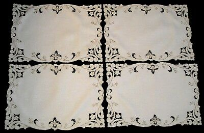 4 MADEIRA STYLE Cutwork Placemats~Fine Ivory Linen w/Ecru Embroidery Work~12 x18