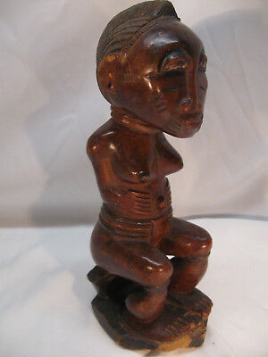 "Older BAULE carved 9.5"" wood seated female SPIRIT SPOUSE ""Blolo Bla"" No Reserve"
