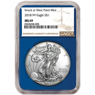 2018 (W) $1 American Silver Eagle NGC MS69 Brown Label Blue Core