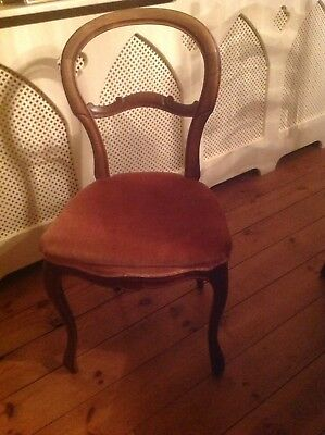 Lovely walnut balloon back carved chair with dusty pink velvet seat. Can deliver