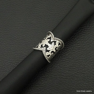 Big Luxury Filigree Medieval Style 925 Sterling Silver Greek Handmade Art Ring