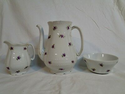 3 Pieces of Austrian China, Marked Victoria, Violets, Teapot, Creamer, Bowl C3