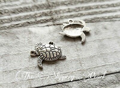 50 Sea Baby Turtle Charms Tortoise Animal Charms Antique Silver Tone 12x16 908