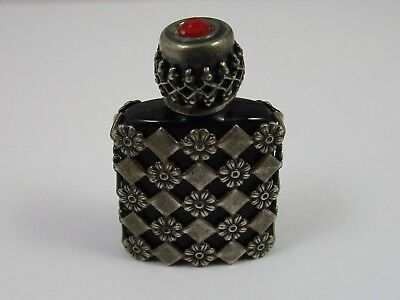 Vintage French Pocket Perfume Bottle Sterling Silver & Red Cut Glass 10.1 Grams