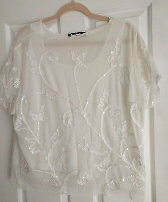 Jacques Verts Beige Short Sleeved Top/Blouse  size XL