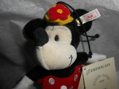 Steiff 1999  MINNIE MOUSE ORNAMENT L.ED. 1320 certificate & orig. price tag