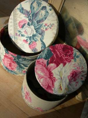 2 divine antique vintage French boudoir boxes - 19thC cabbage roses ribbons