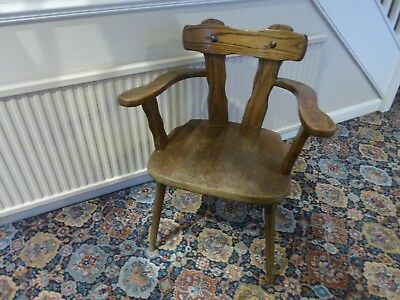 Vintage Collectable Old Oak Wood Captains Chair Wooden Office Desk Chair