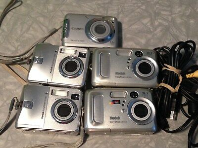 Lot of 5 Kodak and Canon Digital Cameras