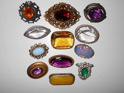 ANTIQUE VTG VICTORIAN ART DECO COLORFUL JEWELED RHINESTONE BROOCH PIN LOT 12pc