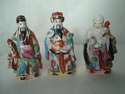3 Vintage Pottery Chinese Japanese Figures Hand Painted