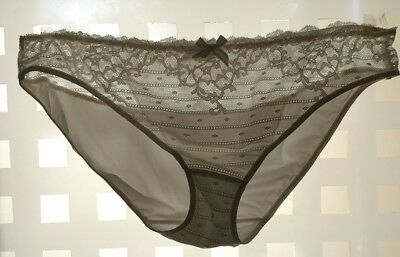 VINTAGE CHANTELLE 3087 Sheer Front White Lace Panties Briefs Size XL