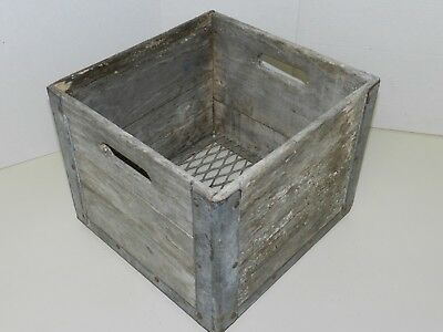 Rustic Antique Wooden Dairy Box, Franklin Dairy, Metal Reinforced Corners/edging