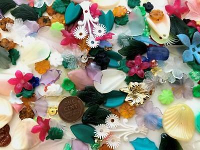 Vintage 1950's Stackable Plastic & Lucite Flower Leaf Beads Mix 70