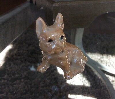 """Vintage Fawn Color French Bulldog 2"""" Porcelain Figurine Marked JAPAN Lusterware"""