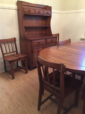 VINTAGE A BRANDT RANCH OAK FURNITURE-Hutch, Table, 6 Chairs