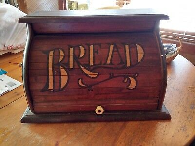 Antique Wood BREAD BOX Roll-Up Door Old Vintage Kitchen Decor Woodenware Wooden