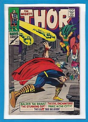 """Mighty Thor #143_August 1967_Very Good+_""""panic In The City""""_Silver Age_Uk!"""