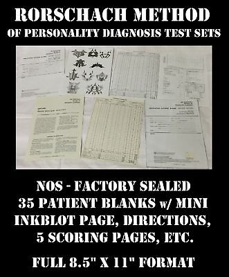 Rorschach Method Personality Test Complete Kit Sheets Record Blank Inkblot New