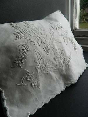 Very pretty antique white boudoir sachet cushion cover  Mountmellick embroidery