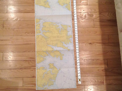 "Vintage 1972  Nautical Chart -Map-Albemarle Sound/  Neuse River NC-NOAA- 15""X60"""
