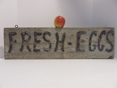 """Old Two Sided Primitive Hand Painted Wooden Maine  """"fresh Eggs"""" Sign, Aafa"""