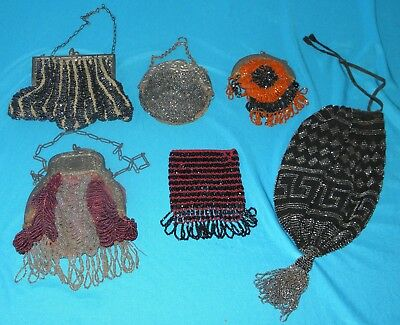 6 Great ANTIQUE BEADED PURSES  glass marcasites hand bags NICE LOT!