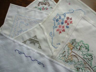 Collection 6 Vintage Cream White Linen Hand Embroidered Flower Tray Cloths