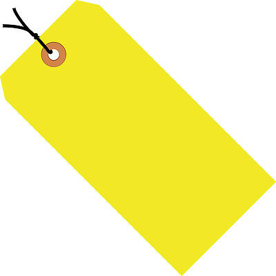 "Box Partners Shipping Tags Pre-Strung 13 Pt. 4 3/4"" x 2 3/8"" Fluorescent Yellow"