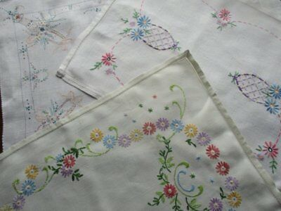 Collection 3 Beautiful Vintage Hand Embroidered Flower Linen Tray Cloths