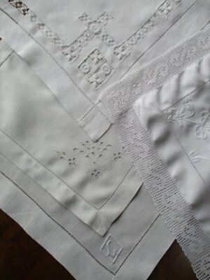 4 Vintage Hand Worked Fancy Drawn Thread Lace Edge Whitework Linen Tray Cloths