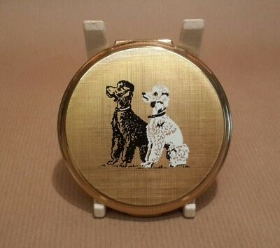 Vintage Stratton Powder Compact 1950's Gold Tone Pair Poodle Dogs Black White