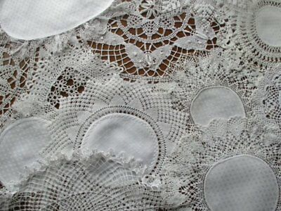 13 Vintage Cream White Hand Worked Lace Edge Damask Table Centre Doily Mats