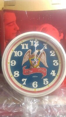 Vintage Sunbeam Plastic Electric Wall Clock Eagle 1776-1976 New Old Stock