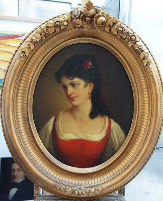 HUGE Early 19th CENTURY Portrait YOUNG LADY Antique Oil Painting