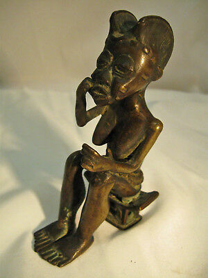 Older Asante ASHANTI BRONZE Seated Female NUDE Beautiful Detail Patina NoReserve