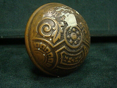 Antique Victorian Decorative Heavy Thick Brass Bronze Door Knob Df