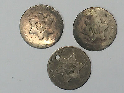 3 - DIFFERENT HARD - TO - GET THREE CENT SILVER COINS = 1852, 1859 & no-date