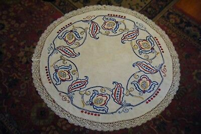 "Ant. Vtg Arts & Crafts 36"" Round Oval Embroidered Table Cloth Cover Doily"